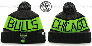 Bulls THE-CALGARY Black-Charcoal-Lime Knit Beanie Hat by Twins 47 Brand