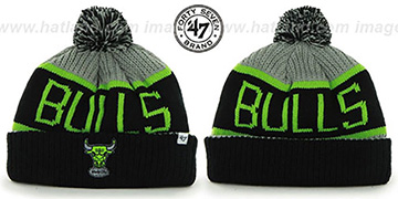Bulls THE-CALGARY Black-Grey-Lime Knit Beanie Hat by Twins 47 Brand
