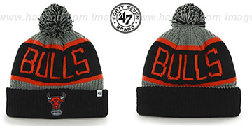 Bulls 'THE-CALGARY' Black-Grey-Orange Knit Beanie Hat by Twins 47 Brand