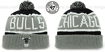 Bulls THE-CALGARY Grey-Black Knit Beanie Hat by Twins 47 Brand