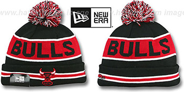 Bulls THE-COACH Black-Red Knit Beanie Hat by New Era