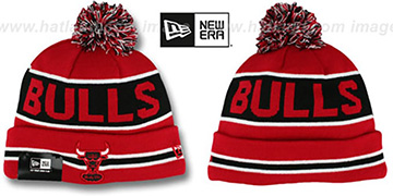 Bulls THE-COACH Red-Black Knit Beanie Hat by New Era