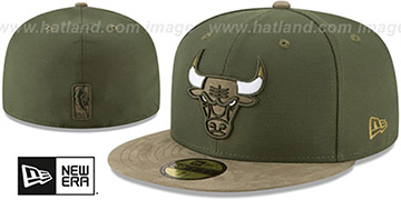Bulls TONAL-CHOICE Rifle Green Fitted Hat by New Era