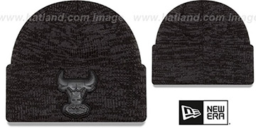 Bulls TONAL TRICK Black-Grey Knit Beanie Hat by New Era