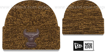 Bulls TONAL TRICK Brown-Wheat Knit Beanie Hat by New Era