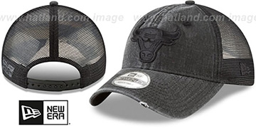 Bulls TONAL-WASHED TRUCKER SNAPBACK Black Hat by New Era