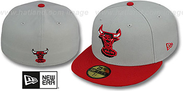 Bulls 'TRACE-POP' Grey-Red Fitted Hat by New Era