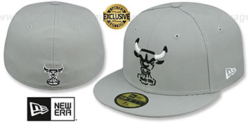 Bulls TRACE TEAM-BASIC Grey-Black-White Fitted Hat by New Era