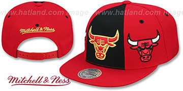 Bulls TRIPLE STACK SNAPBACK Black-Red Hat by Mitchell and Ness