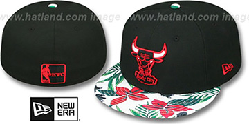 Bulls 'TROPTRIP BLOOM' Black-Multi Fitted Hat by New Era