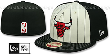Bulls VINTAGE-STRIPE White-Black Fitted Hat by New Era