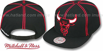 Bulls 'XL-LOGO SOUTACHE SNAPBACK' Black Adjustable Hat by Mitchell & Ness