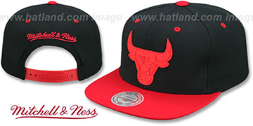 Bulls 'XL RUBBER WELD SNAPBACK' Black-Red Adjustable Hat by Mitchell and Ness