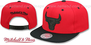 Bulls 'XL RUBBER WELD SNAPBACK' Red-Black Adjustable Hat by Mitchell and Ness