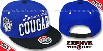 BYU 2T SUPER-ARCH OVER-SIZED SNAPBACK Blue-Black Hat by Zephyr