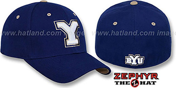 BYU 'DH' Navy Fitted Hat by Zephyr