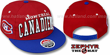 Canadiens 2T SUPER-ARCH SNAPBACK Red-Royal Hat by Zephyr