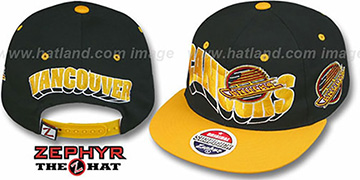 Canucks '2T FLASHBACK SNAPBACK' Black-Gold Hat by Zephyr