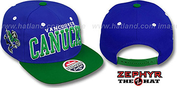 Canucks '2T SUPER-ARCH SNAPBACK' Royal-Green Hat by Zephyr