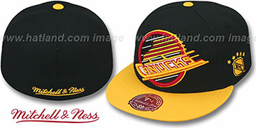 Canucks 2T XL-LOGO Black-Gold Fitted Hat by Mitchell & Ness