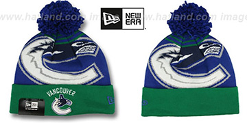 Canucks 'LOGO WHIZ' Royal-Green Knit Beanie Hat by New Era