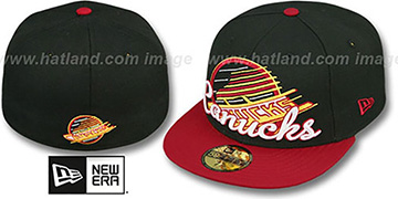 Canucks 'SCRIPT-PUNCH' Black-Red Fitted Hat by New Era