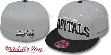 Capitals '2T XL-WORDMARK' Grey-Black Fitted Hat by Mitchell & Ness