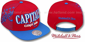 Capitals LASER-STITCH SNAPBACK Red-Blue Hat by Mitchell & Ness