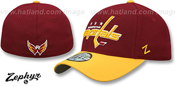 Capitals 'SHOOTOUT' Burgundy-Gold Fitted Hat by Zephyr