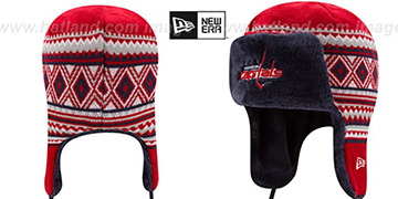 Capitals TEAM TRIM TRAPPER Red Knit Hat by New Era