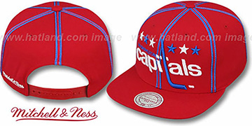 Capitals XL-LOGO SOUTACHE SNAPBACK Red Adjustable Hat by Mitchell & Ness