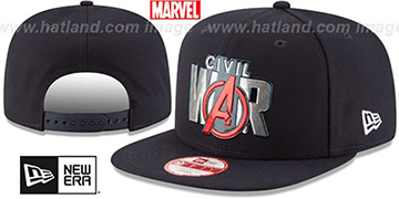 Captain America CIVIL WAR TITLE CHROME SNAPBACK Black Hat by New Era