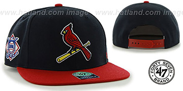Cardinals ALT SURE-SHOT SNAPBACK Navy-Red Hat by Twins 47 Brand