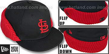 Cardinals FLIP-DOWN Black-Red Fitted Hat by New Era