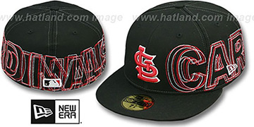Cardinals WORD-WRAP Black Fitted Hat by New Era