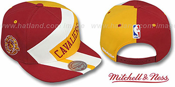 Cavaliers '1-ON-1 SNAPBACK' Burgundy-White-Gold Hat by Mitchell and Ness