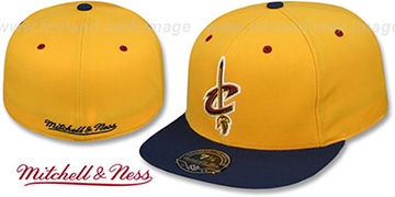 Cavaliers 2T TEAM-BASIC Gold-Navy Fitted Hat by Mitchell and Ness