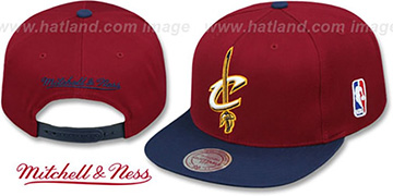 Cavaliers '2T XL-LOGO SNAPBACK - 2' Burgundy-Navy Hat by Mitchell and Ness
