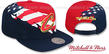 Cavaliers BRUSHED FLAG SNAPBACK Red-Navy Hat by Mitchell and Ness