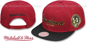 Cavaliers CITY CHAMPS SCRIPT SNAPBACK Burgundy-Black Hat by Mitchell and Ness