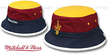 Cavaliers COLOR-BLOCK BUCKET Gold-Burgundy-Navy Hat by Mitchell and Ness