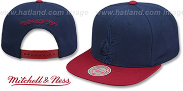 Cavaliers CROPPED SATIN SNAPBACK Navy-Burgundy Adjustable Hat by Mitchell and Ness