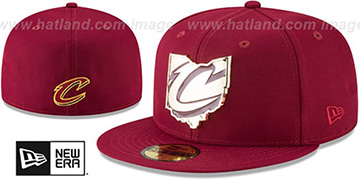 Cavaliers GOLD STATED METAL-BADGE Burgundy Fitted Hat by New Era
