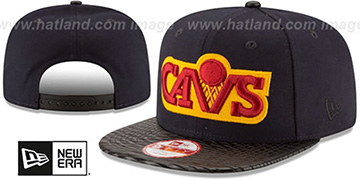 Cavaliers 'HWC LEATHER-RIP SNAPBACK' Navy-Black Hat by New Era