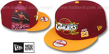 Cavaliers JAMES 'PLAYER-TWIST SNAPBACK' Burgundy-Gold Hat by New Era