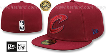 Cavaliers LEATHER POP Burgundy Fitted Hat by New Era