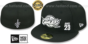 Cavaliers LEBRON JAMES 23 Black-White Fitted Hat by New Era
