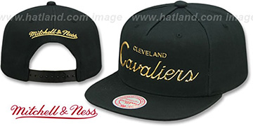 Cavaliers LIQUID METALLIC SCRIPT SNAPBACK Black-Gold Hat by Mitchell and Ness