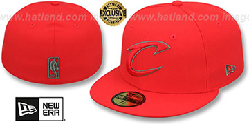 Cavaliers NBA TEAM-BASIC Fire Red-Charcoal Fitted Hat by New Era