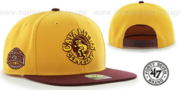 Cavaliers SURE-SHOT SNAPBACK Gold-Burgundy Hat by Twins 47 Brand